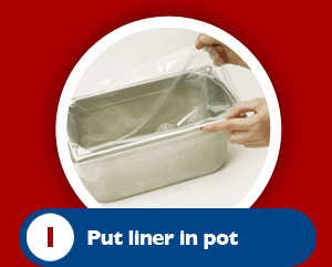 Place the protective pot liner in the pot